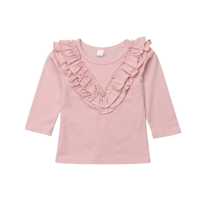 Girls Long Sleeve Solid Casual Tops