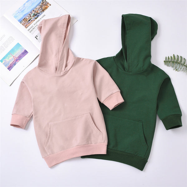 Girls Solid Color Hooded  Casual Top Wholesale Little Girls Clothes