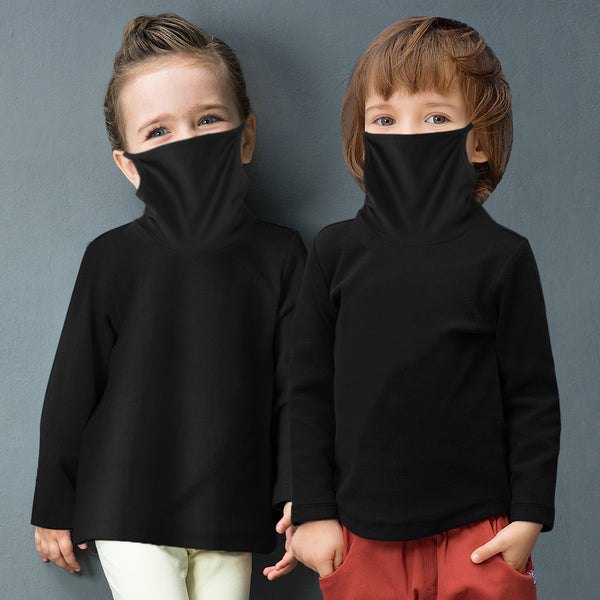 Girls Long Sleeve Solid Color Mask T-shirt Bulk Childrens Clothes