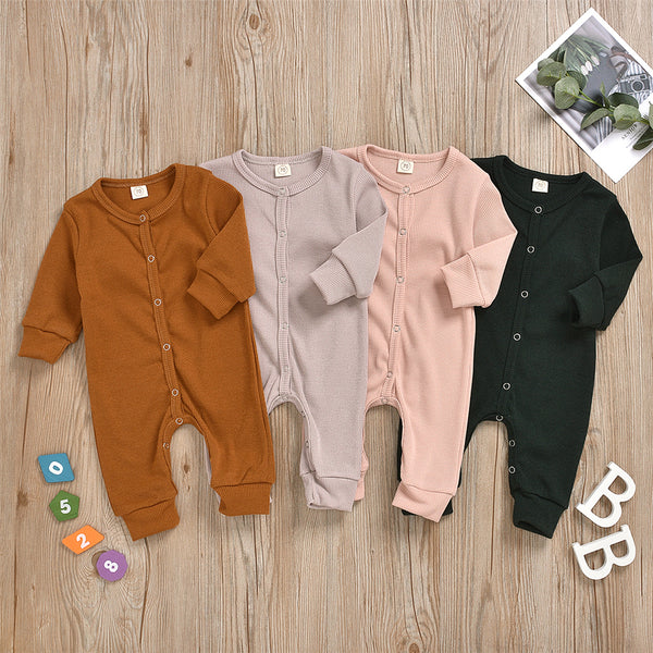Baby Unisex Long Sleeve Solid Color Romper Wholesale Baby Clothes