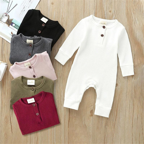 Baby Long Sleeve Solid Color Romper