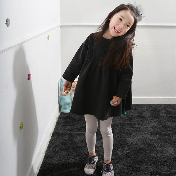Girls Long Sleeve Solid Color Shirt Dress