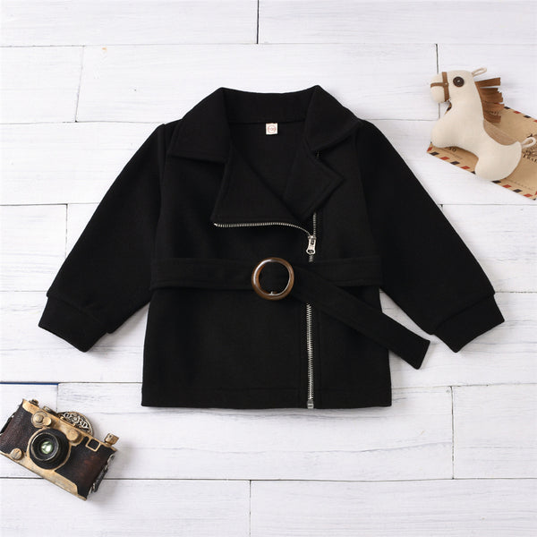 Girls Long Sleeve Solid Color Zipper Belt Coat Wholesale Girls