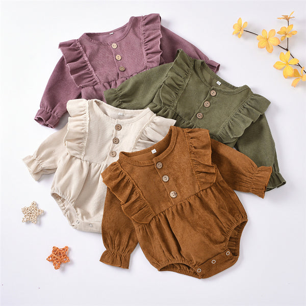Baby Girls Long Sleeve Solid Corduroy Romper Boutique Baby Clothes Wholesale