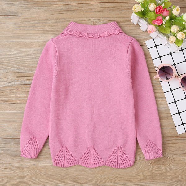 Baby Girls Long Sleeve Solid Doll Collar Sweater Baby Clothes Warehouses
