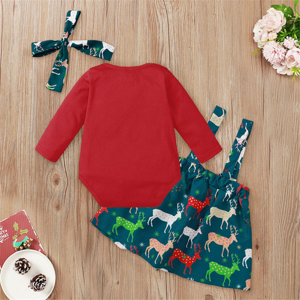 Baby Girls Long Sleeve Solid Romper & Elk Print Skirt Sets Babywear Wholesale