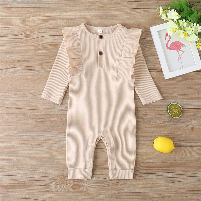 Baby Girls Long Sleeve Solid Rompers