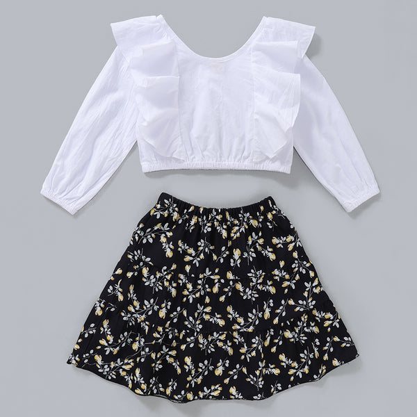 Girls Long Sleeve Solid Ruffled Top & Printed Skirt Girls Clothing Wholesale