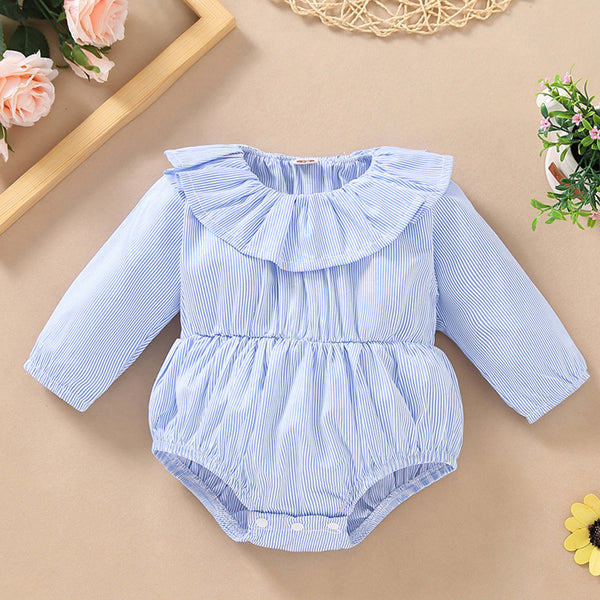 Baby Girls Long Sleeve Solid Striped Romper Boutique Baby Clothes Wholesale