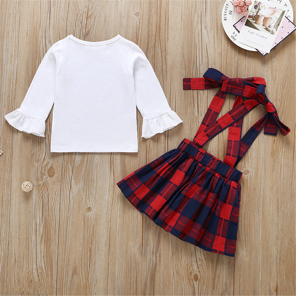 Baby Girls Long Sleeve Solid T-shirt & Plaid Skirt Baby Clothing Cheap Wholesale