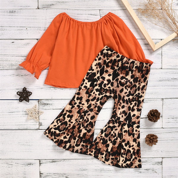 Toddler Girls Long Sleeve Solid Top & Leopard Pants Girls Boutique Wholesale