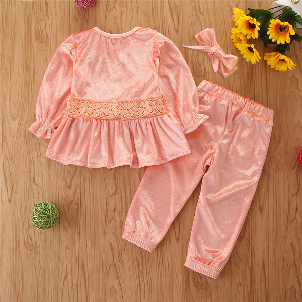 Toddler Girls Long Sleeve Solid Top & Pants & Headband Girl Wholesale