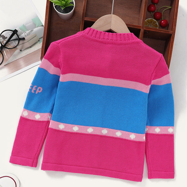 Girls Long Sleeve Star Printed Button Sweater Wholesale Girls Clothing