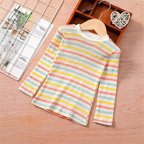 Girls Long Sleeve Striped Crew Neck Tees Girl T Shirts Wholesale