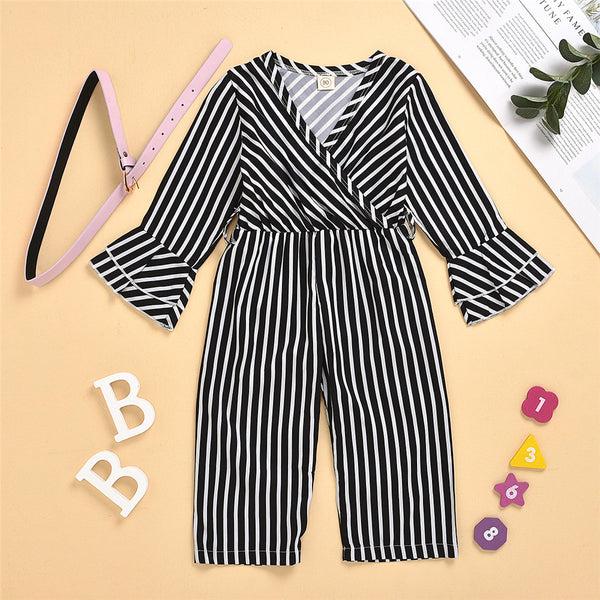 Toddler Girls Long Sleeve Striped Jumpsuit Wholesale Girls Clothing