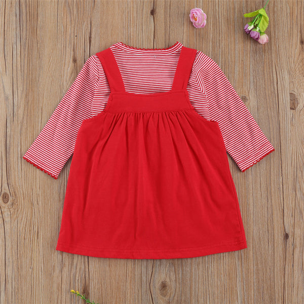 Baby Girls Long Sleeve Striped T-Shirts & Santa Claus Suspender Skirt Baby Outfits