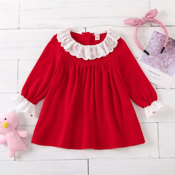 Baby Girls Long Sleeve Sweet Princess Dress Baby Clothing Wholesale