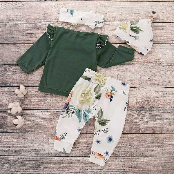 Baby Girls 4-Piece Long Sleeve T-shirt & Floral PantsWholesale Clothing Baby