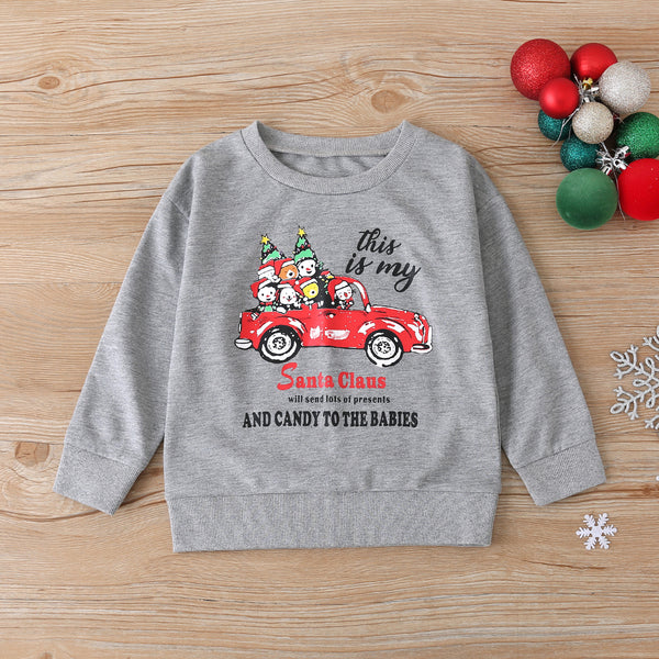 Boys Long Sleeve This Is My Santa Claus Cartoon Car Printed Tops Boy Clothes Wholesale