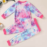 Long Sleeve Tie-dye Casual Tops & Pants