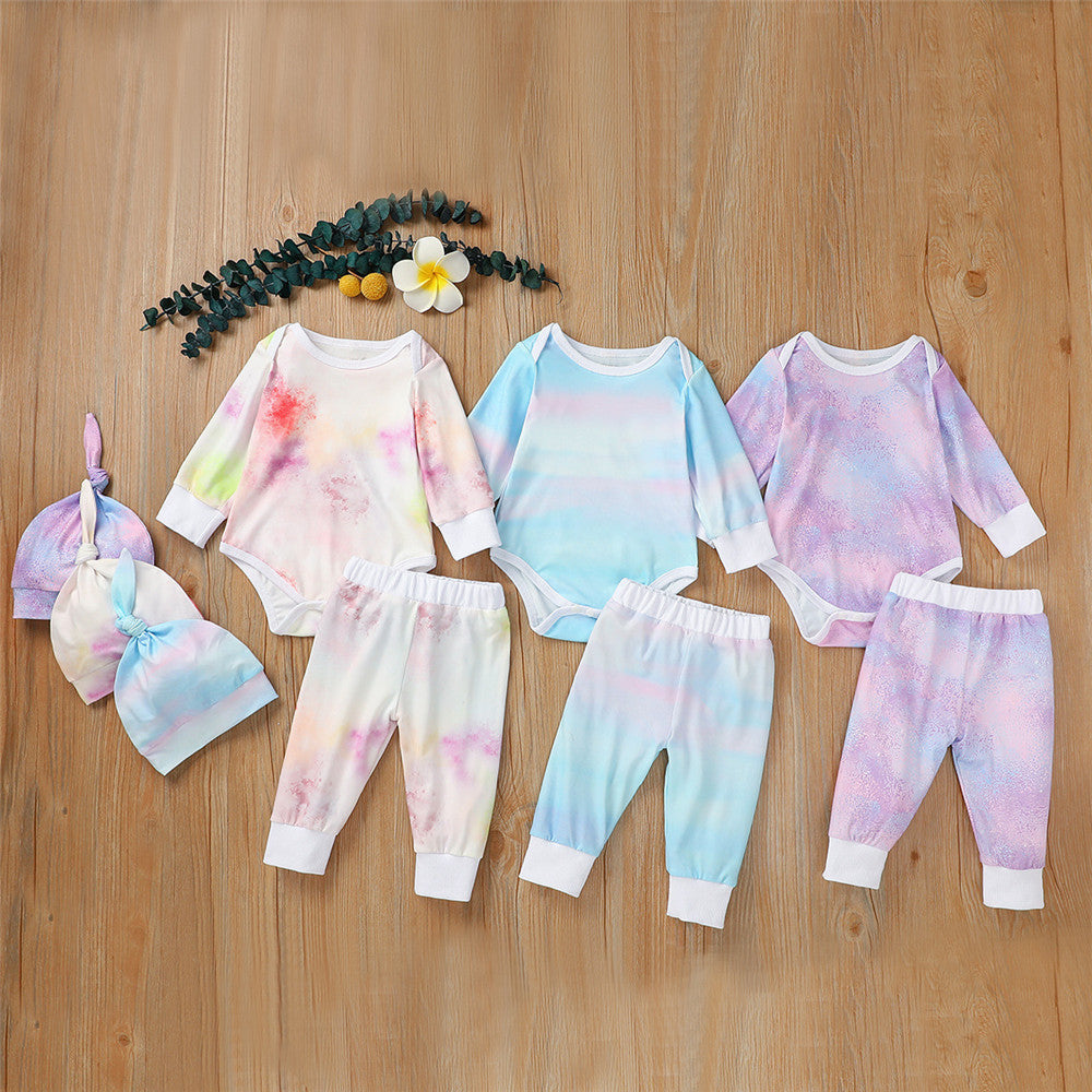 Baby Unisex Long Sleeve Tie-dye Romper & Pants & Hat