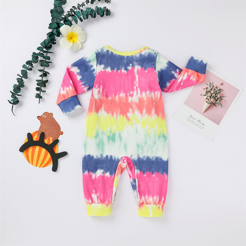 Baby Long Sleeve Tie-dye Rompers