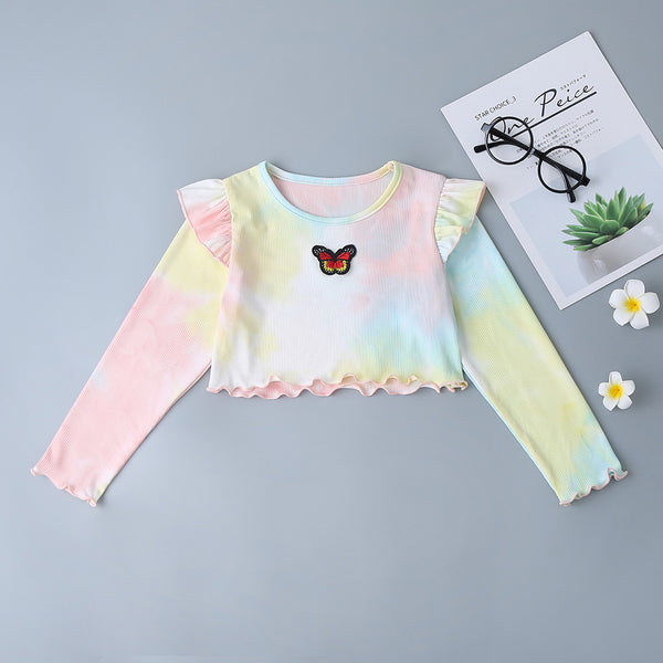 Girls Long Sleeve Tie Dye Bow Tops