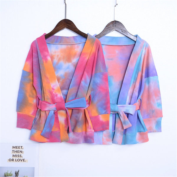 Girls Long Sleeve Tie Dye Cardigan Bow Jacket Wholesale Girl Clothing