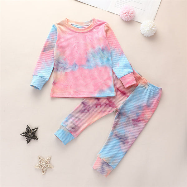 Girls Long Sleeve Tie Dye Crew Neck Tops & Pants