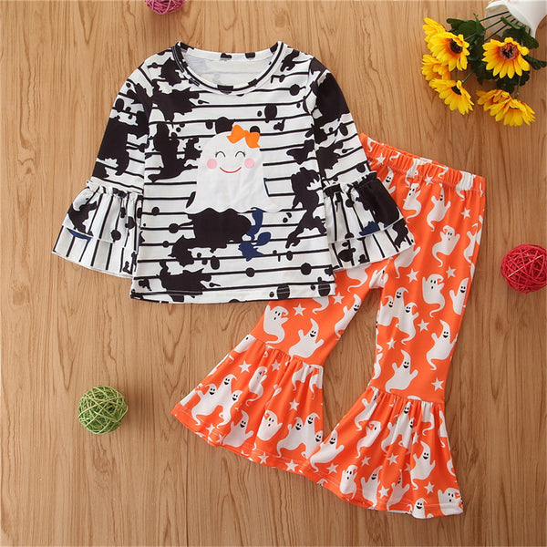Toddler Girls Long Sleeve Tie Dye Halloween Top & Bell Trousers Wholesale Girls