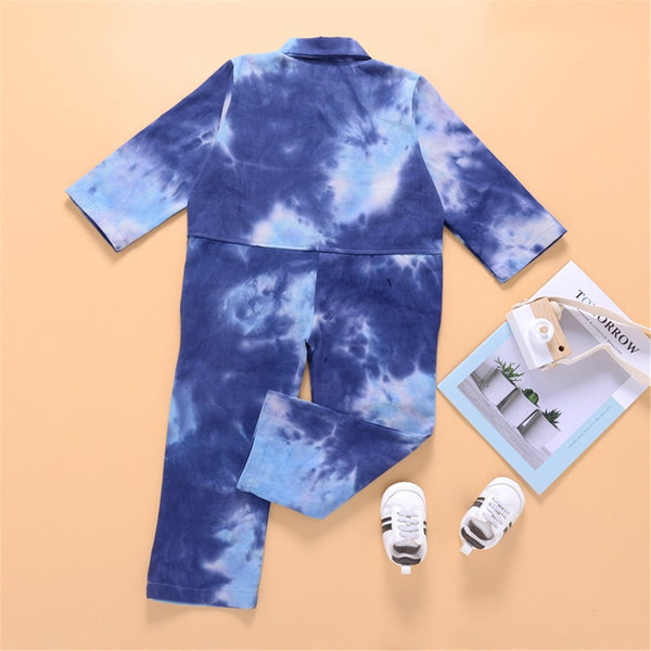 Unisex Long Sleeve Tie Dye Pocket Lapel Jumpsuit Children Clothes Wholesale