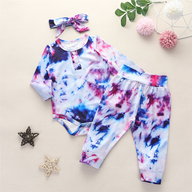 Baby Girls Long Sleeve Tie Dye Romper & Trousers & Headband