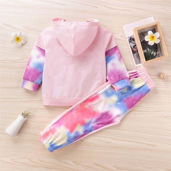 Girls Long Sleeve Tie Dye Splicing Hooded Top & Pants Wholesale Girls