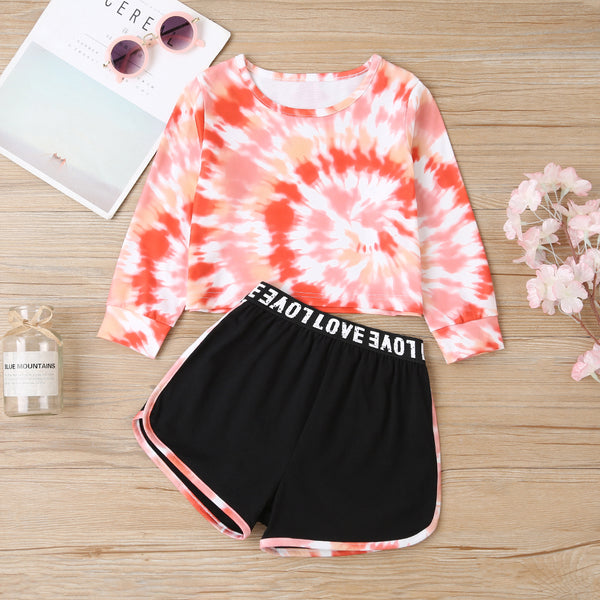 Girls Long Sleeve Tie Dye T-shirt & Shorts Wholesale Little Girl Clothes