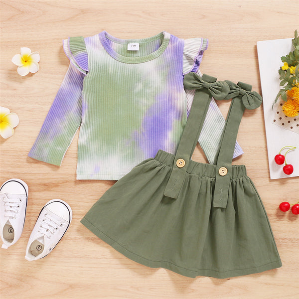 Baby Girls Long Sleeve Tie Dye Top & Solid Suspender Skirt Baby Clothes Warehouse