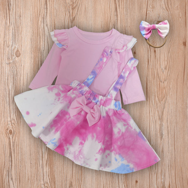 Girls Long Sleeve Tie Dye Tops & Skirt & Headband