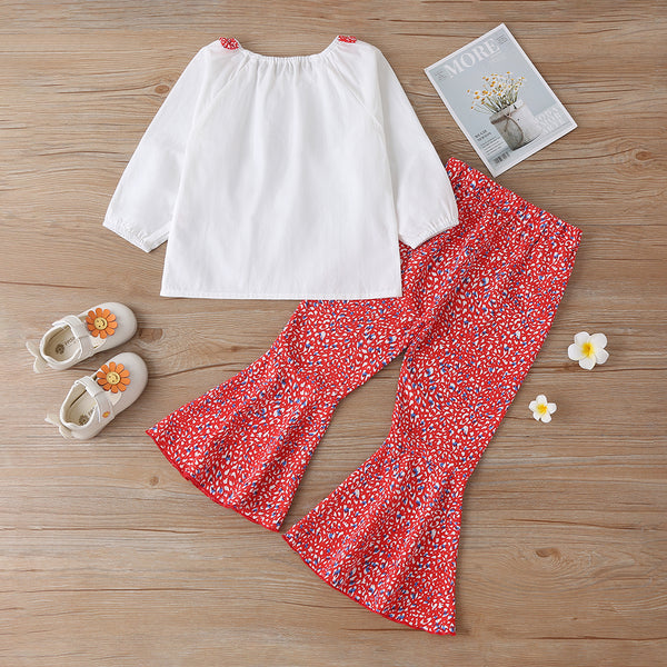 Girls Long Sleeve Top & Floral Bell Trousers wholesale kids boutique clothing