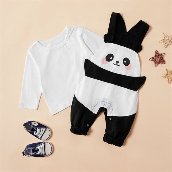Baby Girls Long Sleeve Top & Panda Romper Cheap Boutique Baby Clothing