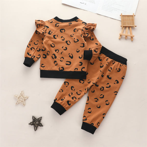 Toddler Girl Print Long Sleeve Top & Pants Wholesale Girls Boutique Clothing