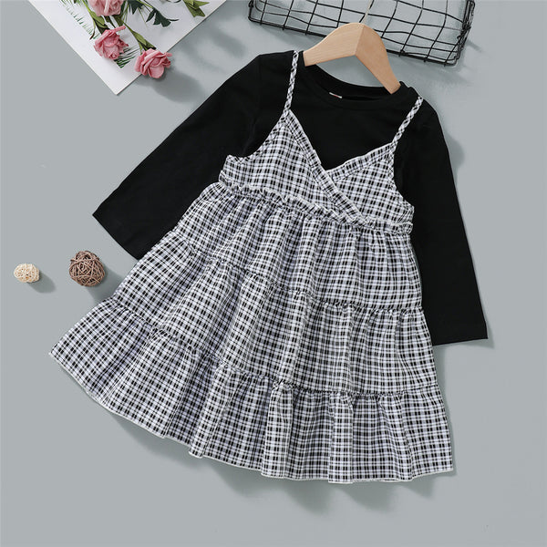 Toddler Girls Long Sleeve Top & Plaid Dress Wholesale Girls Clothes