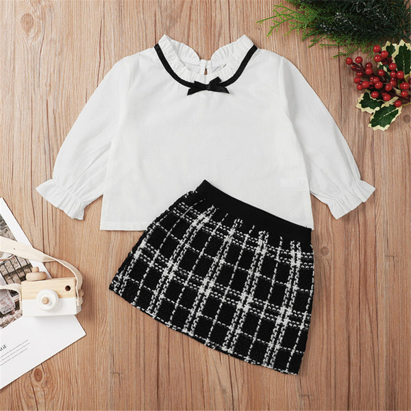 Baby Girls Long Sleeve Top & Plaid Skirt Baby Boutique Wholesale
