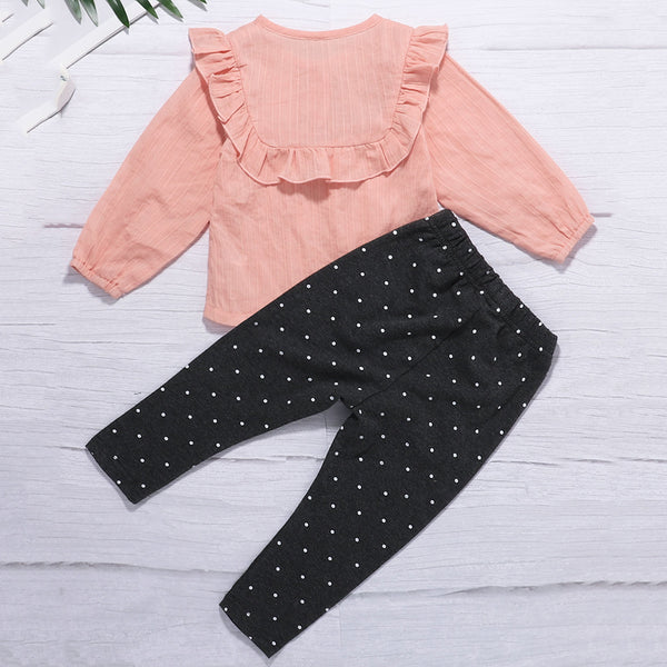 Baby Girls Long Sleeve Top & Polka Dot Trousers Baby Clothes Warehouse