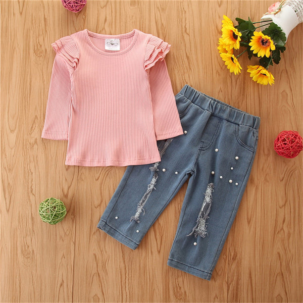 Girls Long Sleeve Top & Ripped Beaded Jeans Girls Clothing Wholesalers