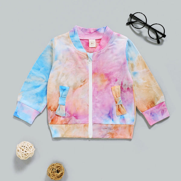 Baby Girls Long Sleeve Zipper Tie Dye Jacket Baby Boutique Wholesale