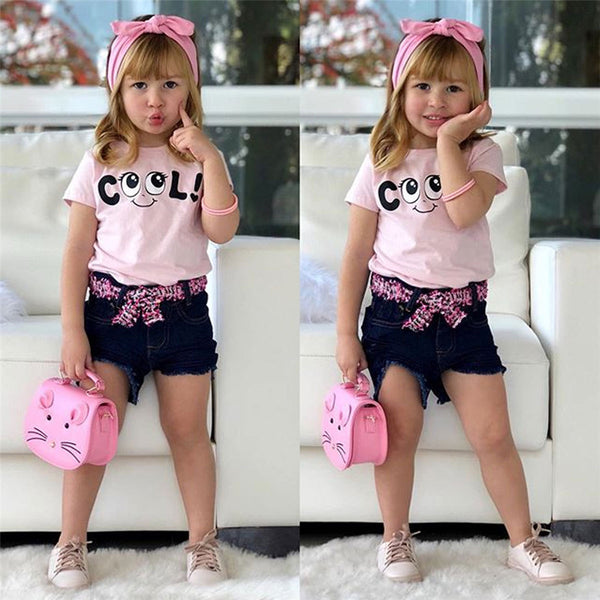 Girls Look Cool Short Sleeve Top & Denim Shorts & Headband Trendy Toddler Clothes Cheap