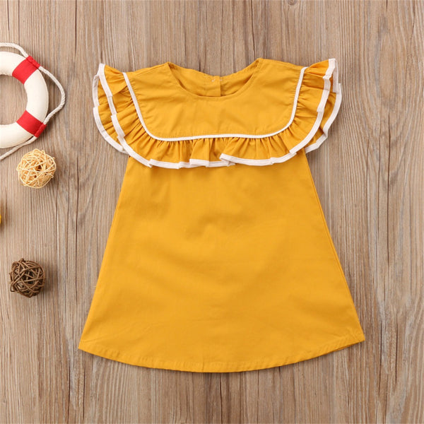 Girls Lotus Leaf Collar A-line Dress wholesale toddler clothing