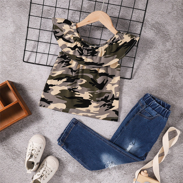 Girls Lotus Leaf Collar Camouflage Top & Ripped Jeans wholesale childrens clothing