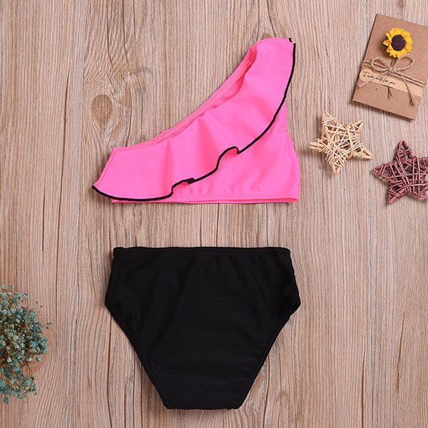 Girls Lotus Leaf Collar Oblique Top & Shorts Swimsuit 2 Piece Swimsuit With Shorts