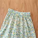 Girls Lotus Leaf Collar Top & Floral Skirt kids clothing wholesale