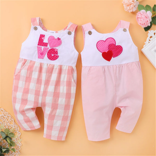 Baby Girls Love Heart Valentine's Day Sleeveless Romper wholesale boy boutique clothes